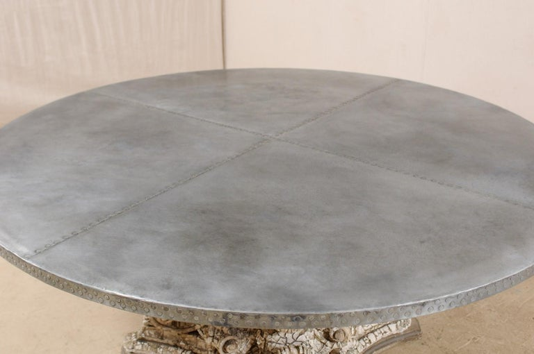 Splendid Custom Pedestal Table with Zinc Top and Early 20th Century Capital Base In Good Condition For Sale In Atlanta, GA