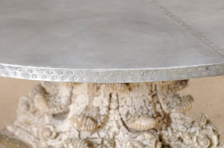 Splendid Custom Pedestal Table with Zinc Top and Early 20th Century Capital Base For Sale 1