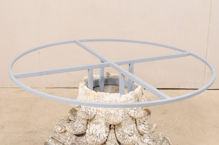 Splendid Custom Pedestal Table with Zinc Top and Early 20th Century Capital Base For Sale 2