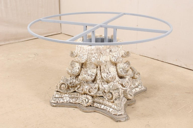 Splendid Custom Pedestal Table with Zinc Top and Early 20th Century Capital Base For Sale 3