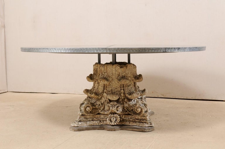 Splendid Custom Pedestal Table with Zinc Top and Early 20th Century Capital Base For Sale 5