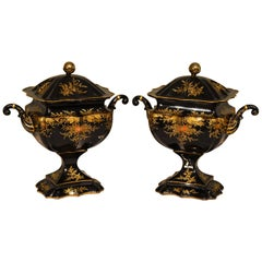 Splendid Pair of Regency Tole Chestnut Urns
