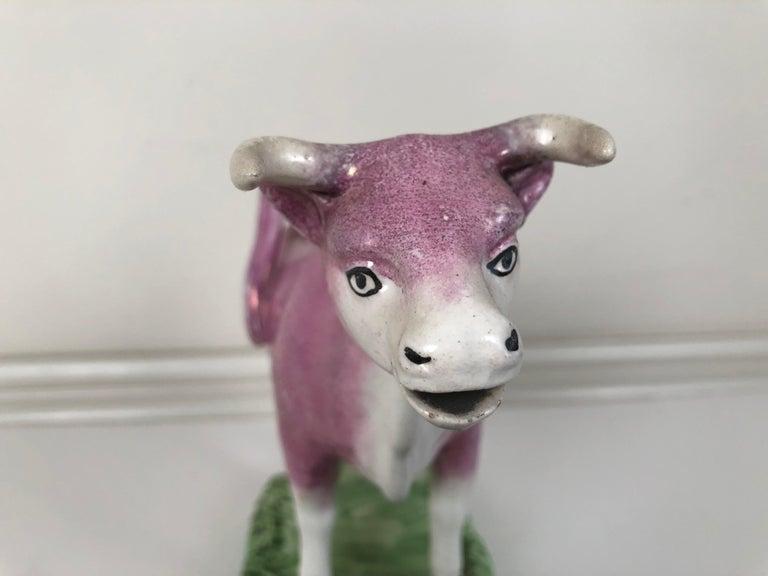 Staffordshire Pink Lusterware Cow Creamer, English, circa 1820 For Sale 1