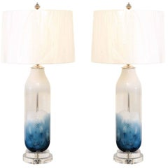 Staggering Pair of Blown Glass Italian Cloud Vessels as Custom Lamps