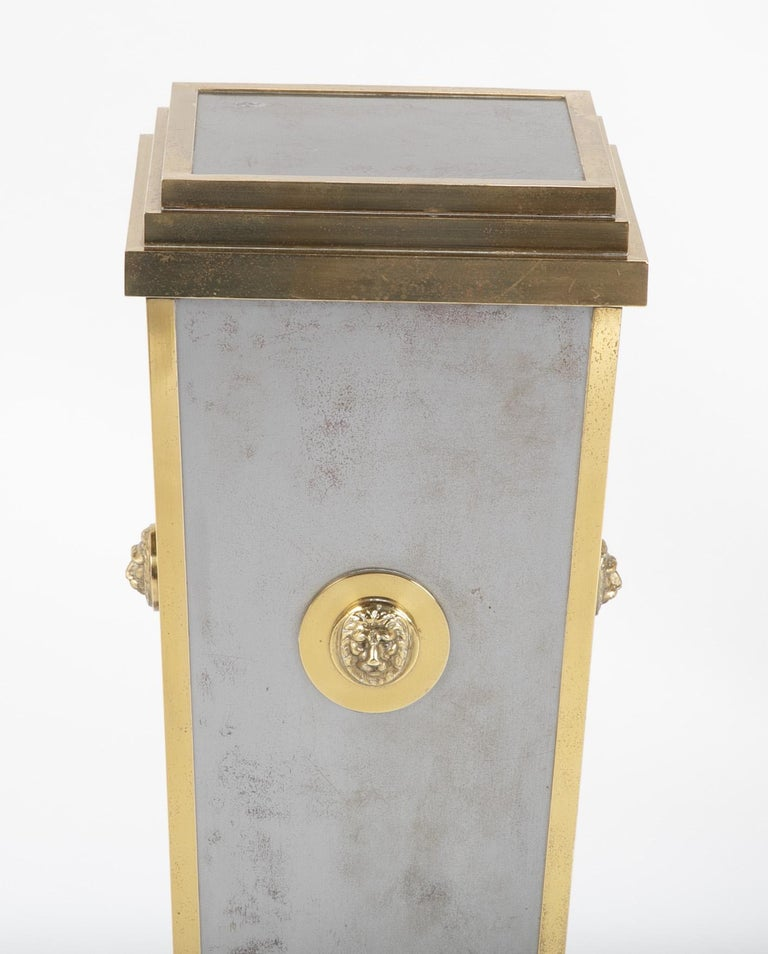 Italian Steel and Brass Pedestal in the Manner of Maison Jansen For Sale