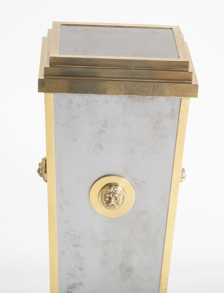Late 20th Century Steel and Brass Pedestal in the Manner of Maison Jansen For Sale