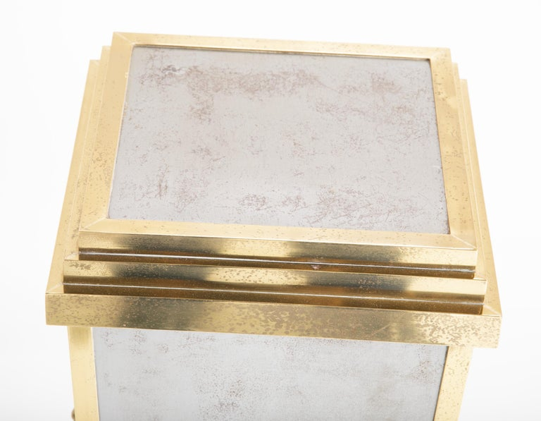 Steel and Brass Pedestal in the Manner of Maison Jansen For Sale 1