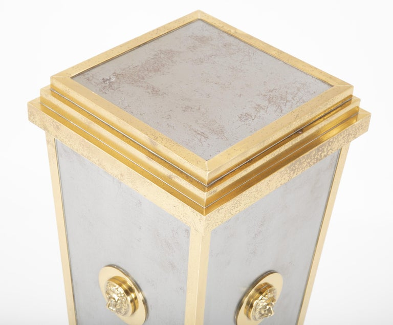 Steel and Brass Pedestal in the Manner of Maison Jansen For Sale 2