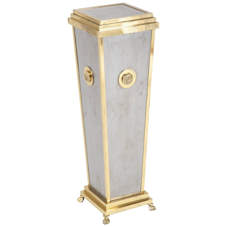 Steel and Brass Pedestal in the Manner of Maison Jansen For Sale