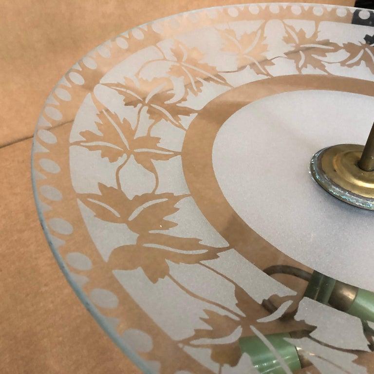 1950S Stilnovo Mid-Century Modern Brass and Glass Pendant For Sale 2