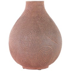 Stoneware Vase by Axel Salto with Incised Paisley Form