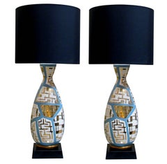 Striking & Tall Pair of Italian Bottle-Form Lamps with Gilt Geometric Decoration