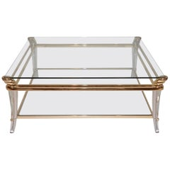 Striking Midcentury Coffee Table with a Polished Brass Frame, Lucite Legs and