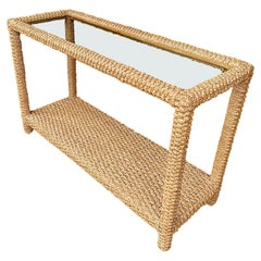 Stunning 1950s Rope Console by Adrian Audoux and Frida Minet with Glass Shelf