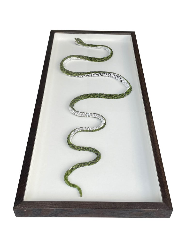 Moorish Stunning Large Framed Green Beaded Snake Made by WW1 Turkish Prisoners of War For Sale