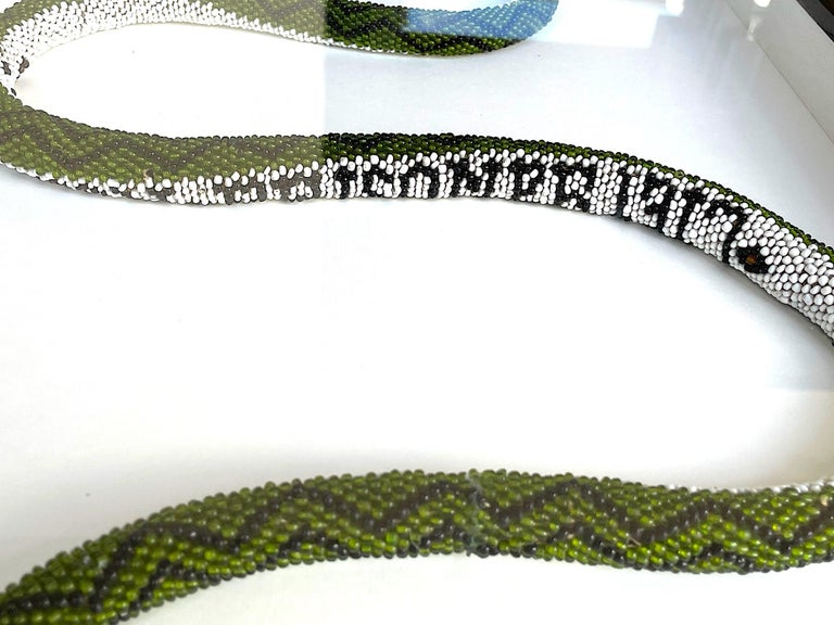 Stunning Large Framed Green Beaded Snake Made by WW1 Turkish Prisoners of War In Good Condition For Sale In London, GB