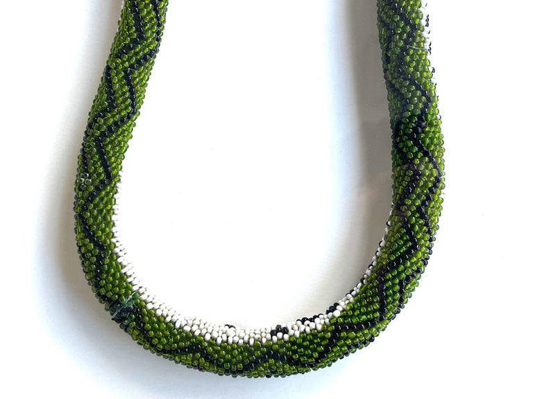 Beads Stunning Large Framed Green Beaded Snake Made by WW1 Turkish Prisoners of War For Sale