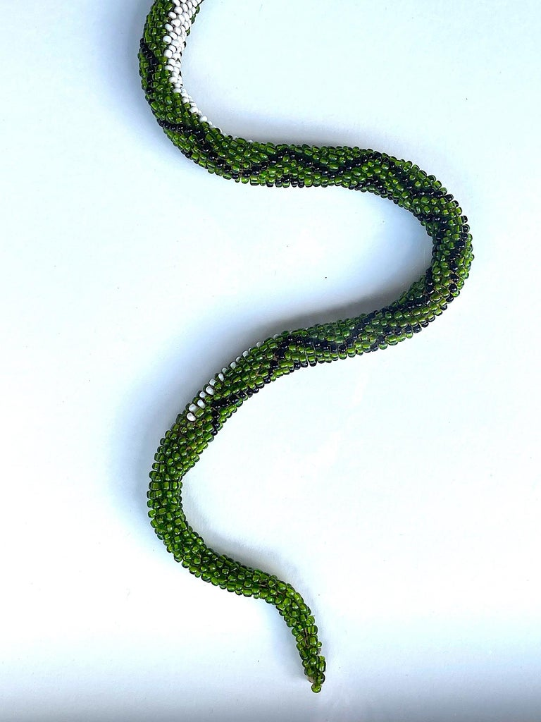 Stunning Large Framed Green Beaded Snake Made by WW1 Turkish Prisoners of War For Sale 1