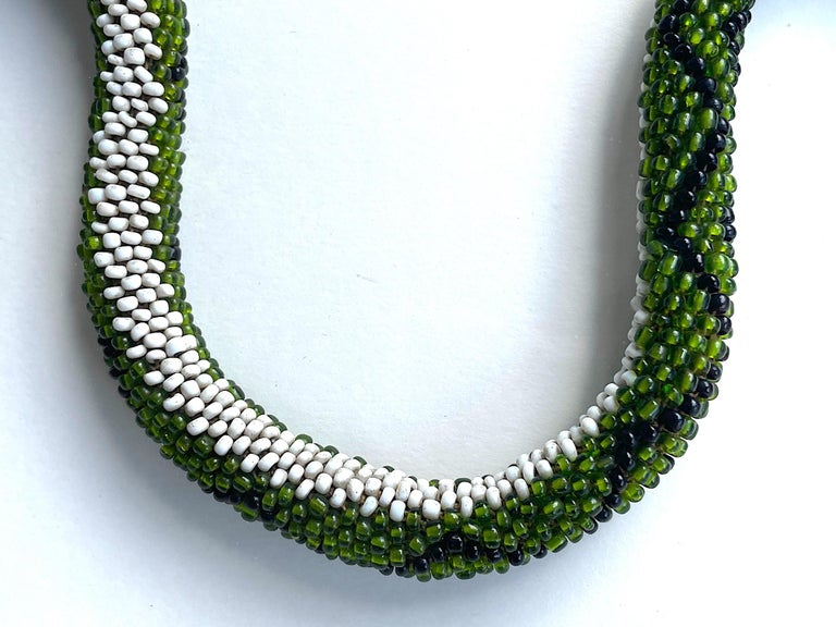 Stunning Large Framed Green Beaded Snake Made by WW1 Turkish Prisoners of War For Sale 2