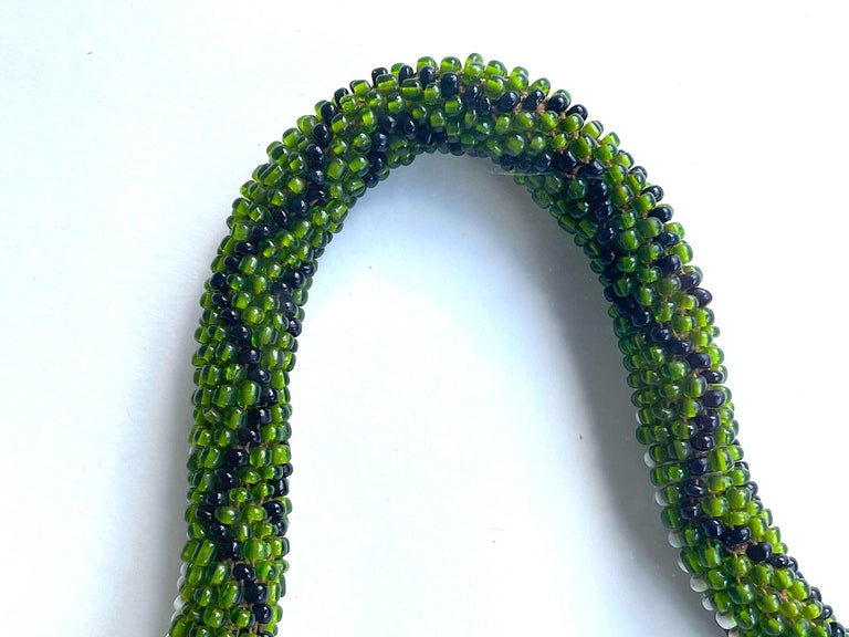 Stunning Large Framed Green Beaded Snake Made by WW1 Turkish Prisoners of War For Sale 3