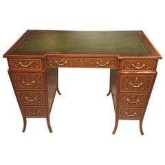 Stunning Quality Late Victorian Mahogany Marquetry Inlaid Antique Writing Desk