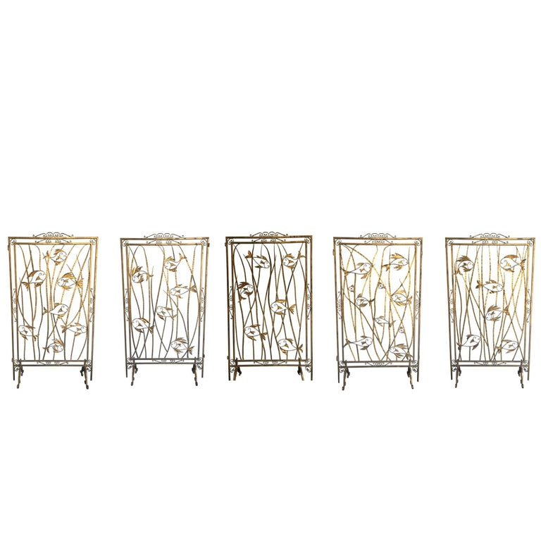 Stunning Set of Five 1950s French Gilt Metal Screen Room Dividers