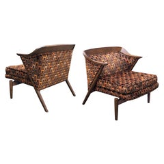 Stylish Pair of Danish 1960s Walnut Armchairs