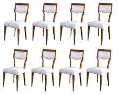 Stylish Set of Eight Italian Paolo Buffa 1940s Walnut Dining Chairs