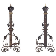 Substantial and Monumental Pair of Nineteenth Century French Wrought Iron and