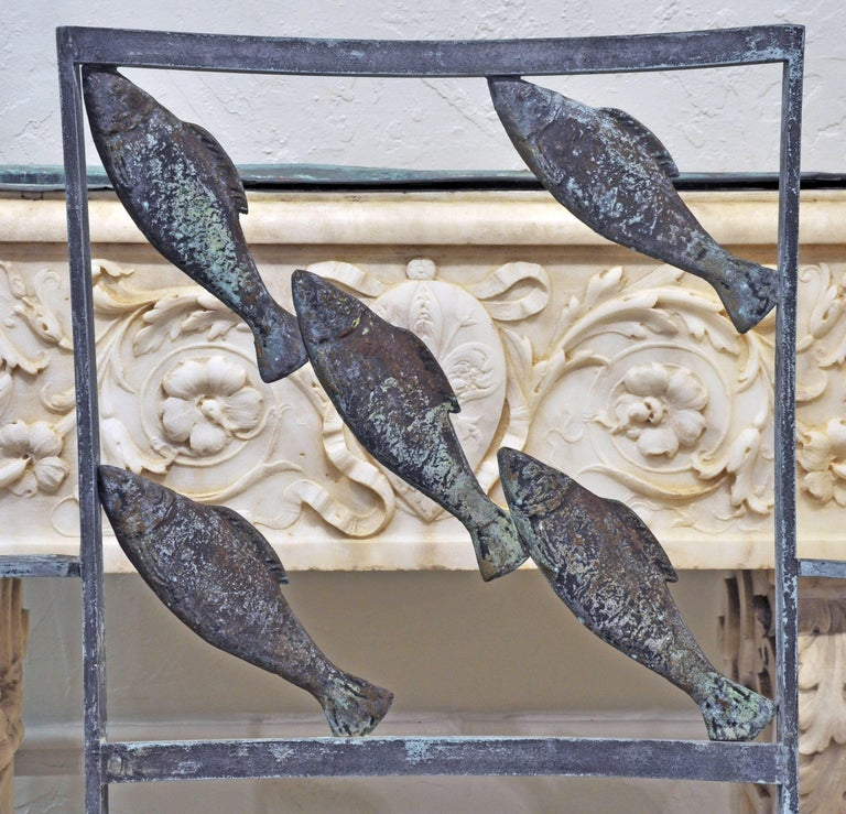 Suite of Six Unique Fish and Mermaid Custom-Made Weathered Bronze Armchairs 3