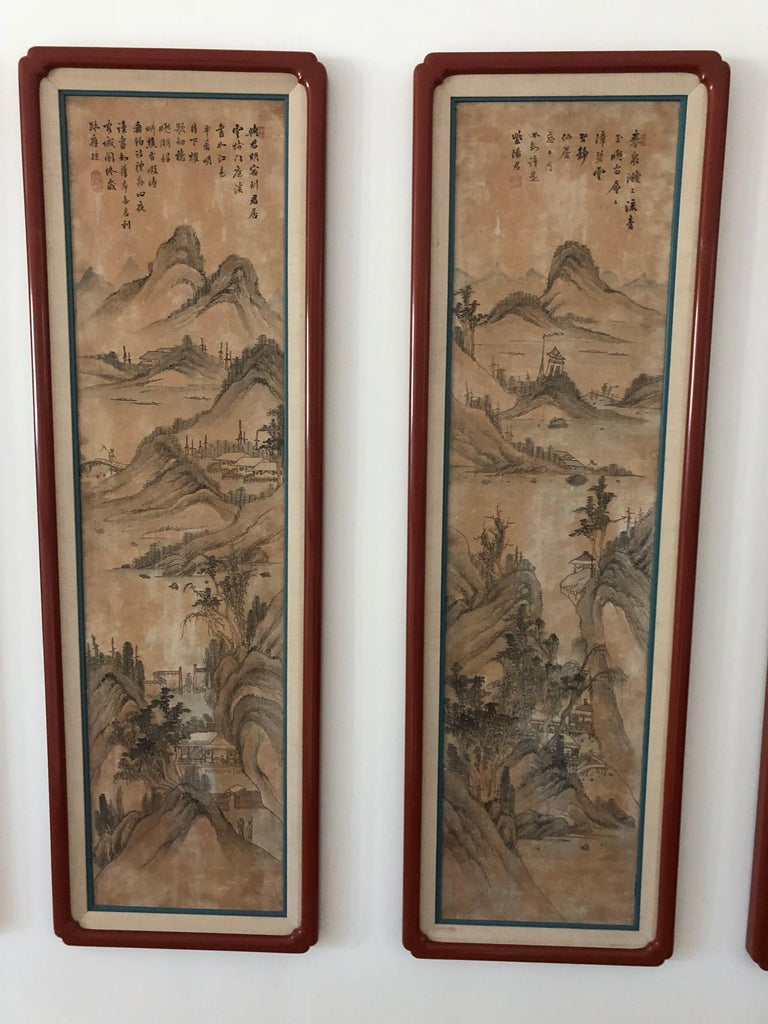 The best I have ever seen of eight hand painted silk panels of landscapes, mounted in red lacquered and matted beautifully. Purchased in London finished antique shop, early 20th century poems painted calligraphy.