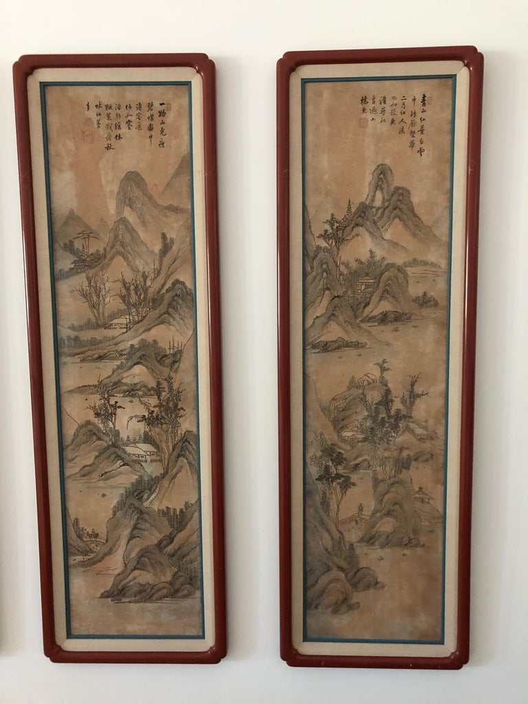 Hand-Painted Suite of Eight Chinese Hand Painted Silk Panels For Sale