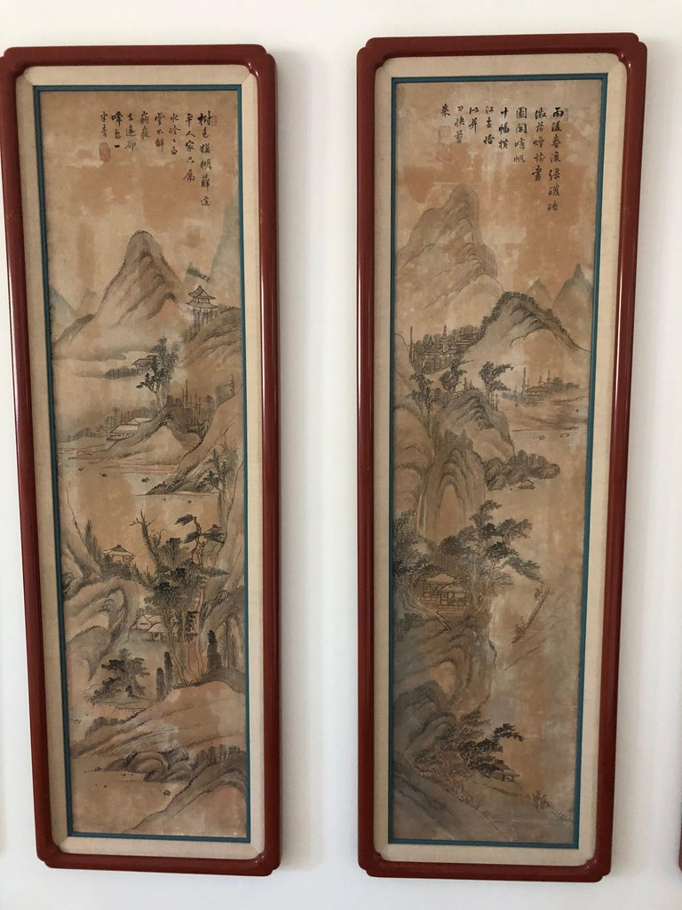 Suite of Eight Chinese Hand Painted Silk Panels In Good Condition For Sale In Sarasota, FL