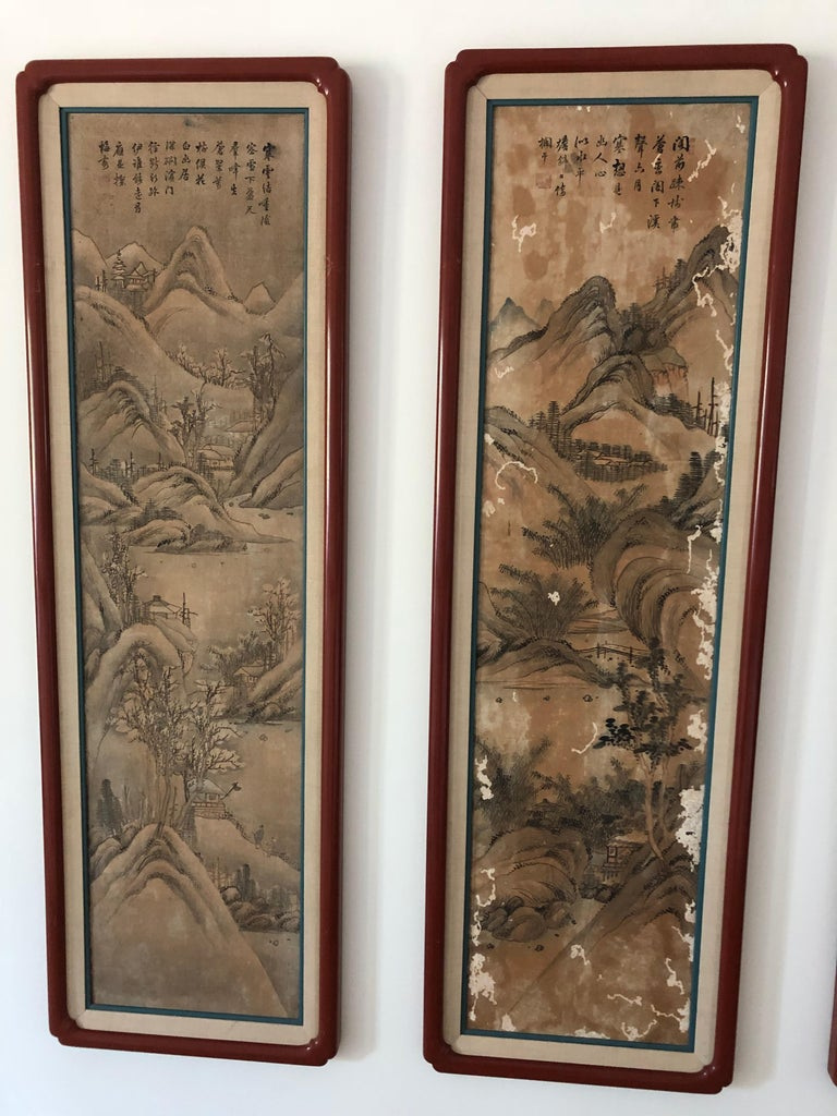 20th Century Suite of Eight Chinese Hand Painted Silk Panels For Sale