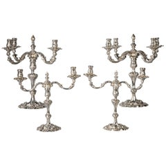 Suite of Four English Silver Candelabra