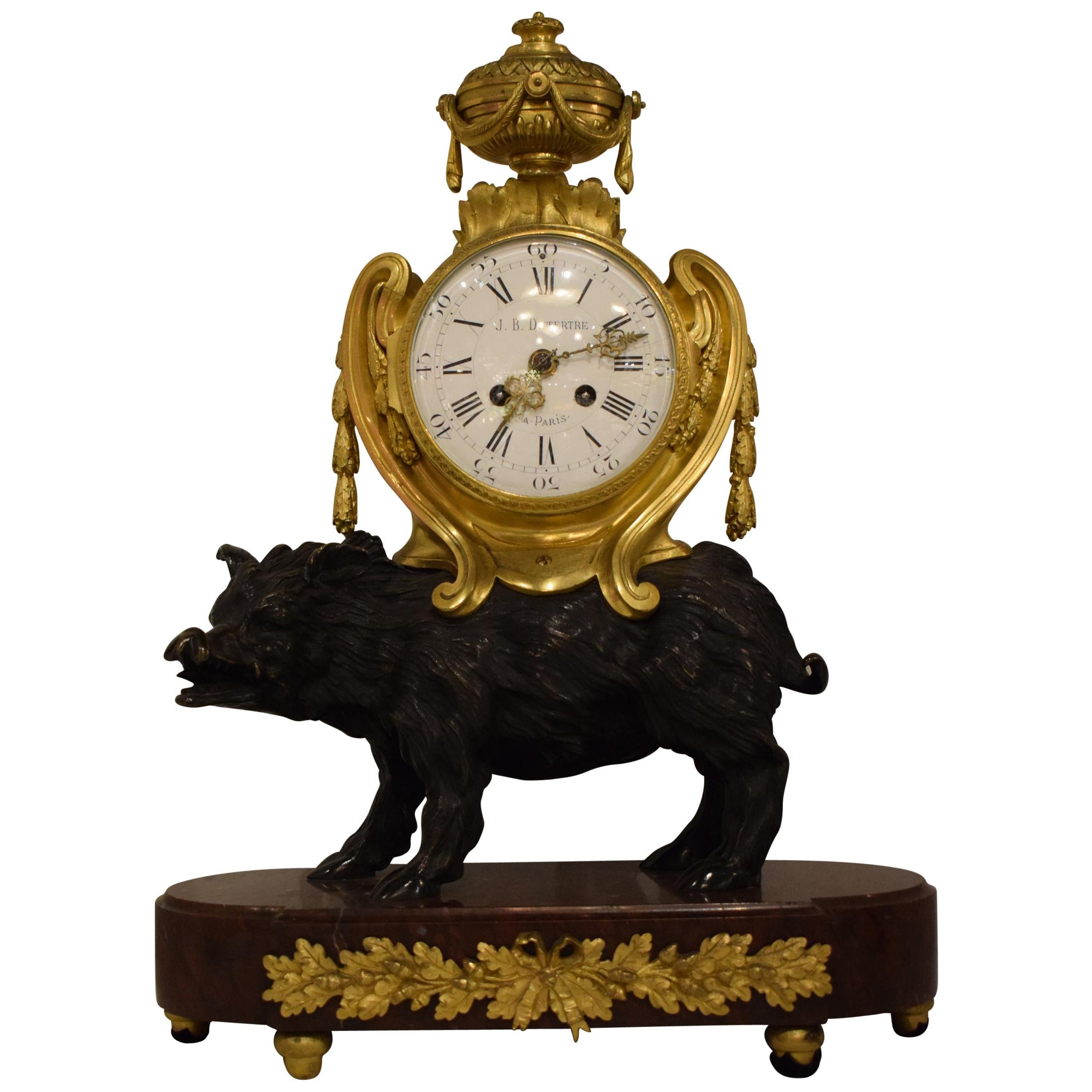 Superb Bronze and Marble Mantle Clock