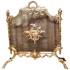 Superb French Brass Rococo Fire Guard, Spark Screen