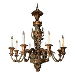 Superb Hand Forged and Repousse Chandelier, Partially Gilt and Polychrome