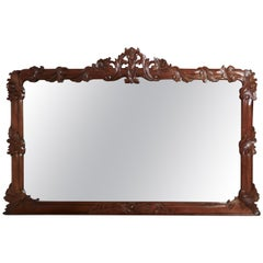 Superb Large Carved Mahogany Overmantle Mirror