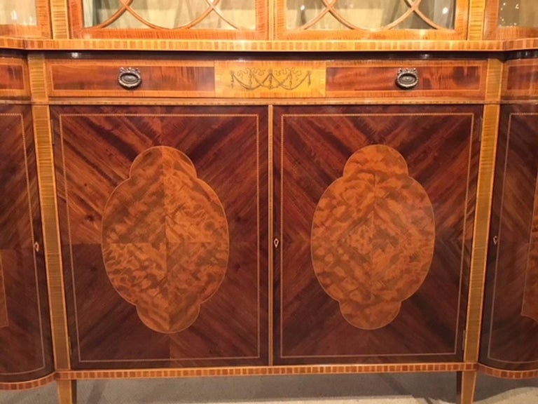 Superb Large Mahogany Edwardian Period Antique Display Cabinet by Maple & Co In Excellent Condition For Sale In Darwen, GB