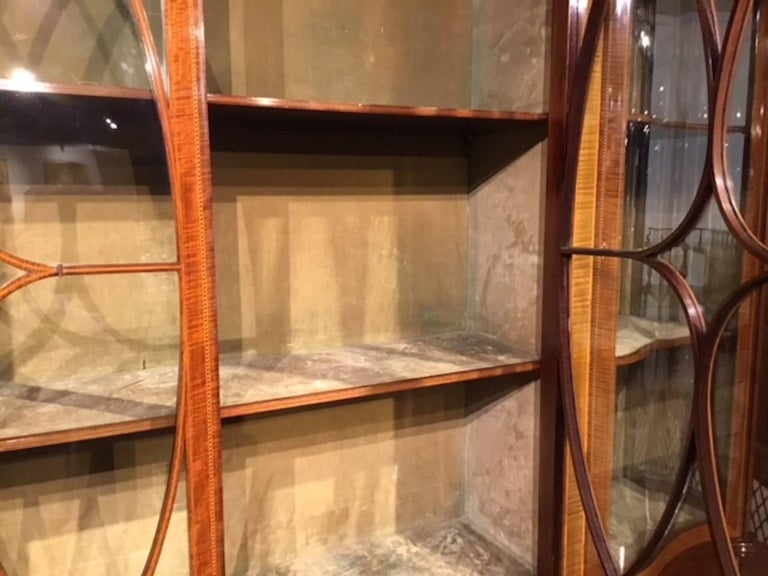 Superb Large Mahogany Edwardian Period Antique Display Cabinet by Maple & Co For Sale 4