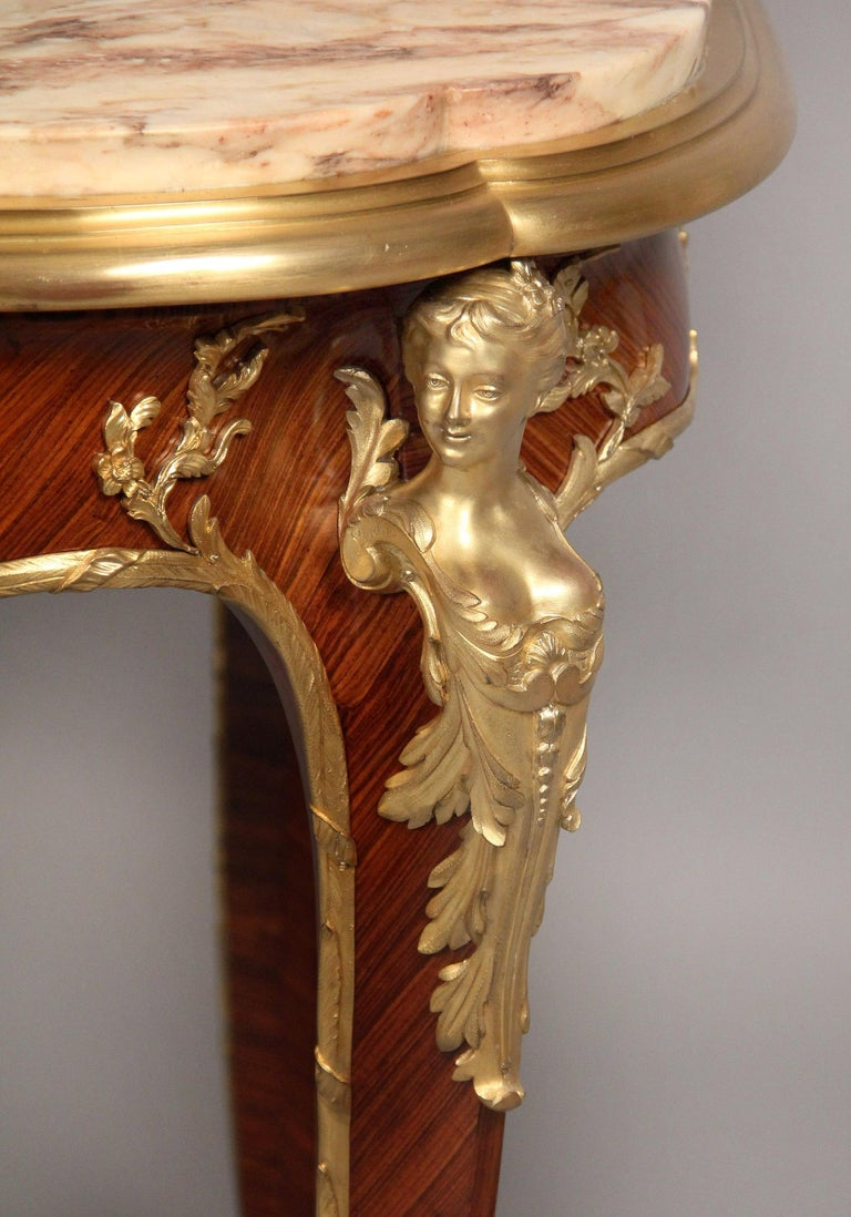 Belle Époque Superb Late 19th Century Gilt Bronze Mounted Center Table by Francois Linke For Sale