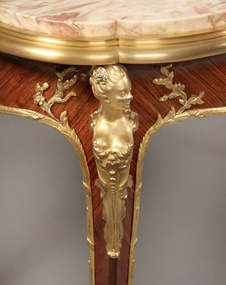 French Superb Late 19th Century Gilt Bronze Mounted Center Table by Francois Linke For Sale