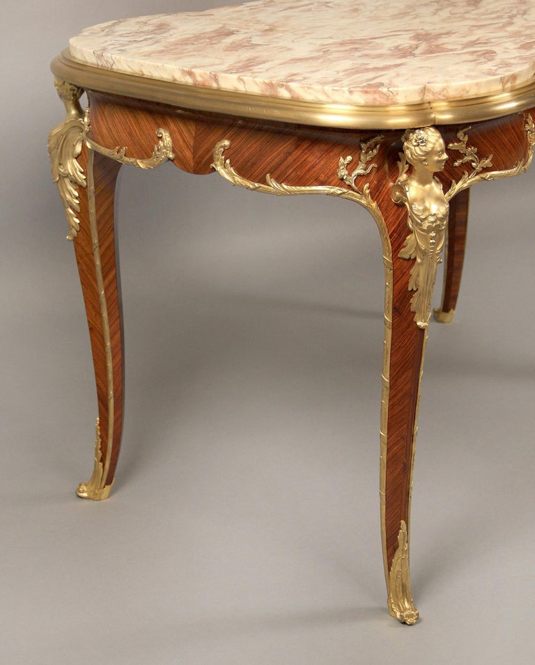 Superb Late 19th Century Gilt Bronze Mounted Center Table by Francois Linke In Good Condition For Sale In New York, NY