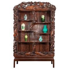 Superb Monumental Meiji Period Hard Wood Display Cabinet, by Noguchi of Yokaha