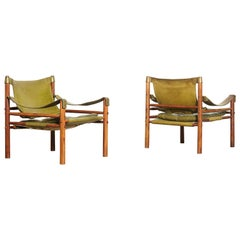 Superb Pair of Arne Norell Safari Sirocco Chairs, Sweden, 1960s-1970s