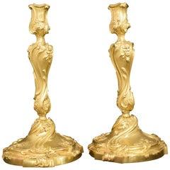 Superb Pair of Gilt Bronze Candlesticks
