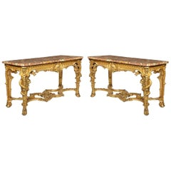 Superb Pair of Giltwood Console Tables with Original Marble Tops