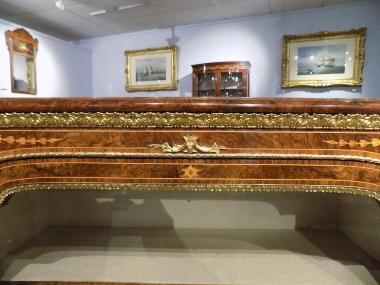 Superb Pair of Victorian Period Burr Walnut and Marquetry Inlaid Pier Cabinets For Sale 6