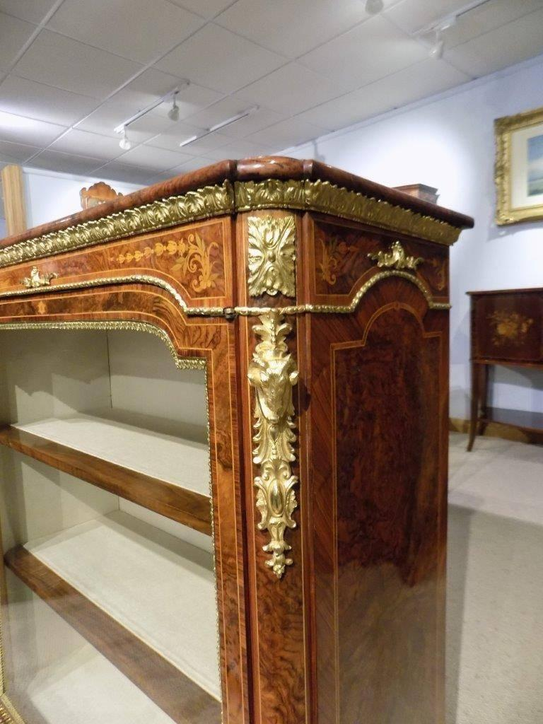 Superb Pair of Victorian Period Burr Walnut and Marquetry Inlaid Pier Cabinets In Excellent Condition For Sale In Darwen, GB